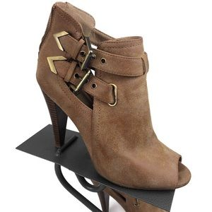 Guess tan heeled booties with gold buckles size 9